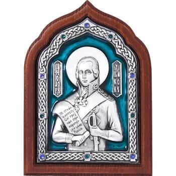 Икона Феодор Ушаков в серебре с эмалью и деревянной рамке (арт. 12240435)