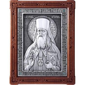 Икона Феофан Затворник в серебре и деревянной рамке (арт. 12240436)