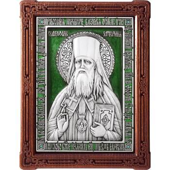 Икона Феофан Затворник в серебре с эмалью и деревянной рамке (арт. 12240437)