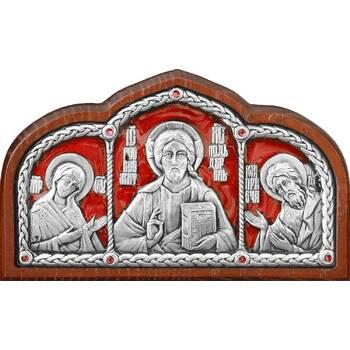 Икона в машину с образами Господь Вседержитель, Пресвятая Богородица, Николай чудотворец в серебре (арт. 12240438)