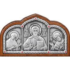 Икона в машину с образами Господь Вседержитель, Пресвятая Богородица, Николай чудотворец в серебре 12240439