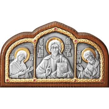 Икона в машину с образами Господь Вседержитель, Пресвятая Богородица, Николай чудотворец в серебре (арт. 12240440)