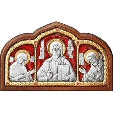 Икона в машину с образами Господь Вседержитель, Пресвятая Богородица, Николай чудотворец в серебре (арт. 12240441)