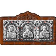 Икона в машину с образами Господь Вседержитель, Пресвятая Богородица, Николай чудотворец в серебре (арт. 12240442)