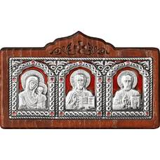 Икона в машину с образами Господь Вседержитель, Пресвятая Богородица, Николай чудотворец в серебре 12240443