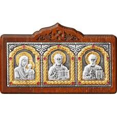 Икона в машину с образами Господь Вседержитель, Пресвятая Богородица, Николай чудотворец в серебре (арт. 12240444)