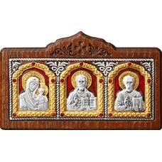 Икона в машину с образами Господь Вседержитель, Пресвятая Богородица, Николай чудотворец в серебре (арт. 12240445)