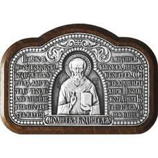 Икона в машину с молитвой водителя и образом Николая Чудотворца в серебре 12240448