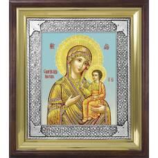 Иверская икона Божией Матери в ризе и деревянном киоте (арт. 1224045)