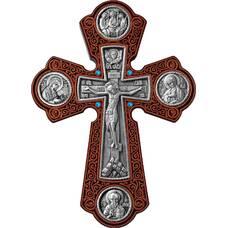 Настенный крест с круглыми вставками в серебре и рамкой из ясени 12240450