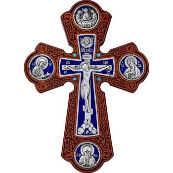 Настенный крест с круглыми вставками в серебре с эмалью и рамкой из ясени (арт. 12240451)