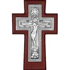 """Настенный крест """"Плетенка"""", образ Распятия и Серафим (ясень и серебрение) (арт. 12240452)"""