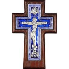 """Настенный крест """"Плетенка"""" в серебре с эмалью и рамкой из ясени (арт. 12240453)"""
