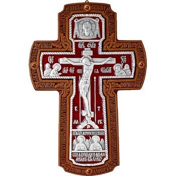 Настенный крест с Архангелами в серебре с эмалью и рамкой из ясени (арт. 12240455)
