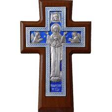 """Настенный крест """"Богородничный"""" в серебре с эмалью и рамкой из ясени (арт. 12240457)"""
