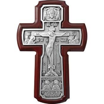 Настенный крест с Архангелами в серебре и рамкой из ясени (арт. 12240458)