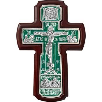 Настенный крест с Архангелами в серебре с эмалью и рамкой из ясени (арт. 12240459)