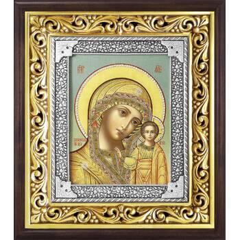 Казанская икона Божией матери в ризе и деревянном киоте (арт. 1224046)