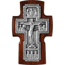 Настенный крест в серебре и рамкой из ясени 12240460