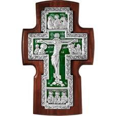 Настенный крест в серебре с эмалью и рамкой из ясени (арт. 12240461)