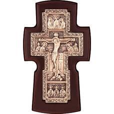 Настенный крест медный и рамкой из ольхи (арт. 12240462)