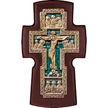 Настенный крест медный с эмалью и рамкой из ольхи (арт. 12240463)