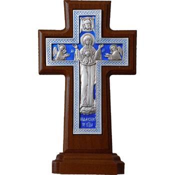"""Крест настольный """"Богородичный"""" в серебре с эмалью и рамкой из ясеня (арт. 12240469)"""