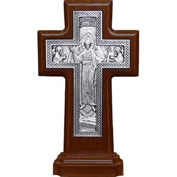 Крест настольный двухсторонний (Распятие, Воскресение Христово) в серебре и рамкой из ясени (арт. 12240475)