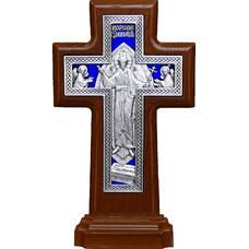 Крест настольный двухсторонний (Распятие, Воскресение Христово) в серебре с эмалью и рамкой из ясени (арт. 12240476)