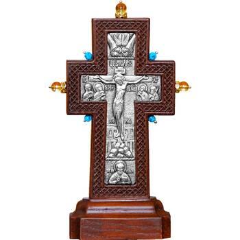 """Крест настольный """"Малый с камнями"""" в серебре и рамкой из ясеня (арт. 12240479)"""