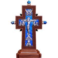 """Крест настольный """"Малый с камнями"""" в серебре с эмалью и рамкой из ясеня (арт. 12240480)"""