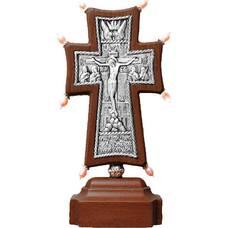 """Крест настольный """"Византийский"""" в серебре и рамкой из ясеня (арт. 12240481)"""