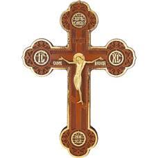 Настенный крест с поталью и бронзовым распятием (арт. 12240484)