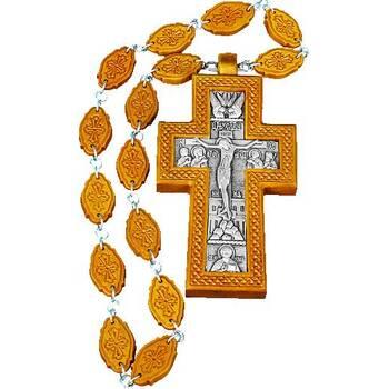 Наперсный крест (иерейский) резной из яблони и груши и посеребренной вставкой (арт. 12240487)