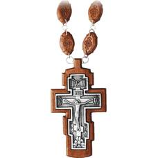 Наперсный крест (иерейский) резной из клена с посеребренной вставкой (арт. 12240488)