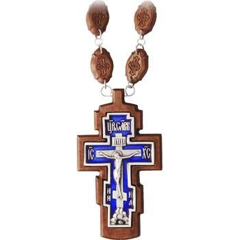 Наперсный крест (иерейский) резной из клена с посеребренной вставкой и эмалью (арт. 12240489)
