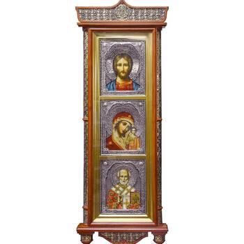 Тройной киот: Спаситель, Казанская икона Божией Матери, cвт. Николай (арт. 1224049)
