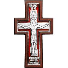 """Крест в машину """"Годеновский"""" в серебре с эмалью и рамкой из клена (арт. 12240492)"""