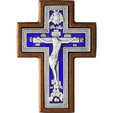 Крест в машину в серебре с эмалью в рамке из ясеня 12240494