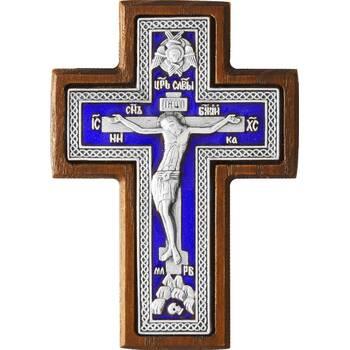 Крест в машину в серебре с эмалью в рамке из ясеня (арт. 12240494)