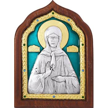 Икона Матрона Московская в серебре с эмалью и позолотой (арт. 12240495)