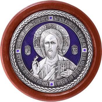 Икона Господь Вседержитель в серебре с эмалью и деревянной рамке (арт. 12240497)