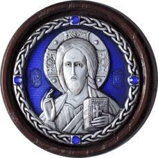 Икона в машину Господь Вседержитель в серебре с эмалью 12240499