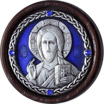Икона в машину Господь Вседержитель в серебре с эмалью (арт. 12240499)