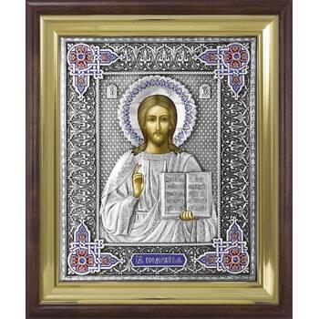 Икона Господь Вседержитель в ризе с эмалью и деревянном киоте (арт. 1224063)