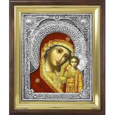 Казанская икона Божией матери в ризе и деревянном окладе (арт. 122408)