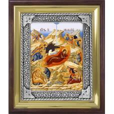 Икона Рождество Христово в ризе и деревянном киоте (арт. 1224083)