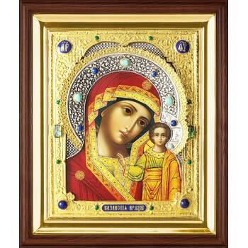 Казанская икона Божией матери в ризе и деревянном киоте (арт. 122409)
