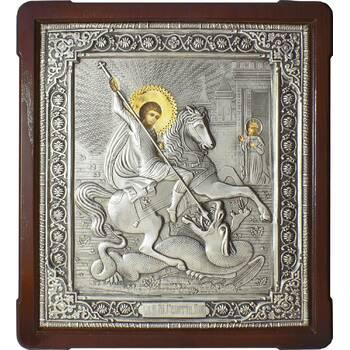 Икона Георгий Победоносец в ризе и деревянном киоте (арт. 1224090)
