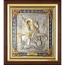 Икона Георгий Победоносец в ризе и деревянном киоте (арт. 1224093)
